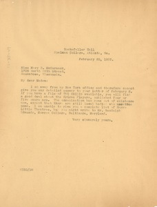Thumbnail of Letter from W. E. B. Du Bois to Mary B. McCormack