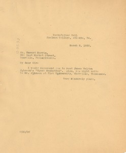 Thumbnail of Letter from W. E. B. Du Bois to Howard Marris