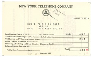 Thumbnail of Bill from New York Telephone Company