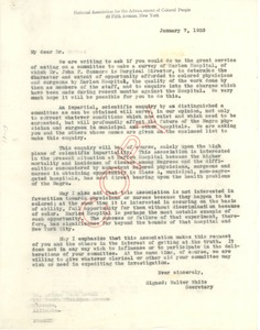 Thumbnail of Circular letter from National Association for the Advancement of Colored People to Committee on Survey of Harlem Hospital