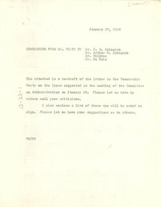 Memorandum from Walter White to J. E. Spingarn, Arthur Spingarn, Roy Wilkins, and W. E. B. Du Bois
