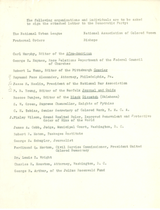 List of organizations and individuals being asked to sign letter to Democratic Party
