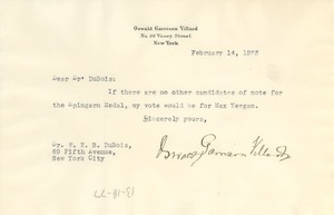 Thumbnail of Note from Oswald Garrison Villard to W. E. B. Du Bois