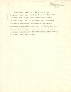 Thumbnail of 1933 Spingarn Medal announcement