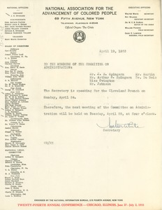 Thumbnail of Memorandum from Walter White to NAACP Committee on Administration