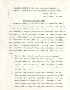 Thumbnail of NAACP resolution adopted by the 24th. annual conference of the National Association       for the Advancement of Colored People