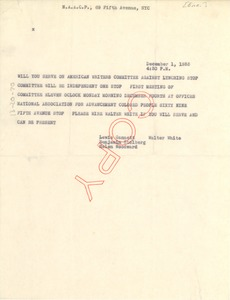 Thumbnail of Telegram from NAACP to unidentified correspondent