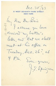 Thumbnail of Note from J. E. Spingarn to W. E. B. Du Bois