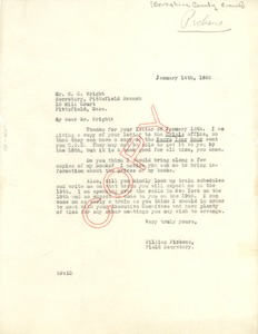 Thumbnail of Letter from William Pickens to NAACP Berkshire County Branch