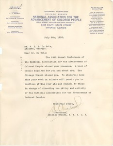 Thumbnail of Letter from NAACP Chicago Branch to W. E. B. Du Bois