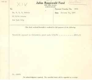 Thumbnail of Payment voucher from Julius Rosenwald Fund to W. E. B. Du Bois
