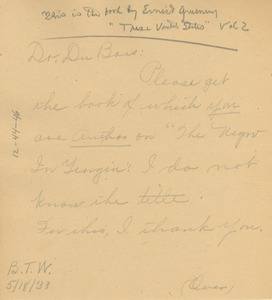 Thumbnail of Note from Louie Davis Shivery to W. E. B. Du Bois