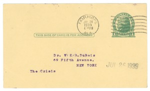Thumbnail of Postcard from Edgar H. Webster to W. E. B. Du Bois