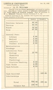 Thumbnail of Invoice from Lincoln University