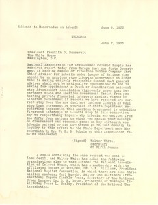 Thumbnail of Addenda to Women's International League for Peace and Freedom memorandum on Liberia