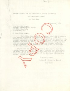 Thumbnail of Letter from The Federal Council of The Churches of Christ in America to the             Women's International League