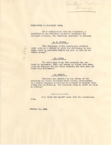 Thumbnail of Memorandum from Atlanta University Committee on French and             German to President of Atlanta University