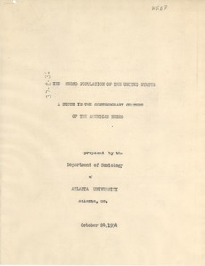 Thumbnail of Proposal: The Negro Population of the United States -- A Study in the             Contemporary Culture of the American Negro