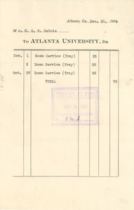 Thumbnail of Invoice from Atlanta University to W. E. B. Du Bois