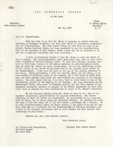 Thumbnail of Letter from John Haynes Holmes to William Jay Schieffelin