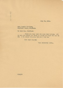 Thumbnail of Letter from W. E. B. Du Bois to Carrie Clifford