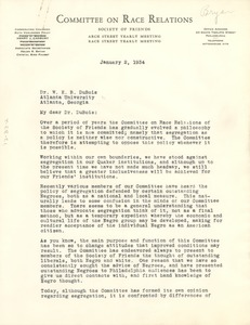 Thumbnail of Letter from Committee on Race Relations to W. E. B. Du Bois