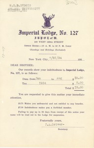 Thumbnail of Invoice from Imperial Lodge No. 127, Order of Elks
