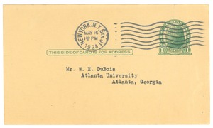 Thumbnail of Postcard from Encyclopaedia of the Social Sciences to W. E. B. Du Bois