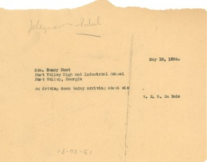 Thumbnail of Telegram from W. E. B. Du Bois to Henry A. Hunt
