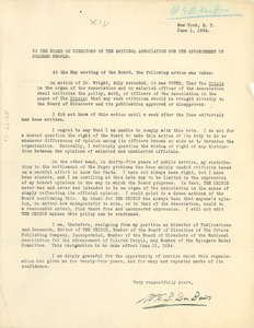 Thumbnail of Letter from W. E. B. Du Bois to NAACP Board of Directors