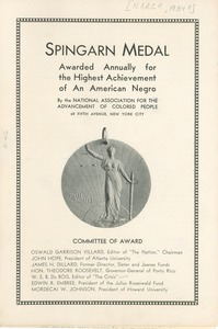 Thumbnail of 1934 Spingarn Medal brochure