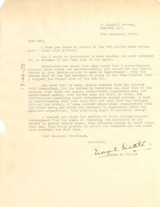 Thumbnail of Letter from George S. Oettlé to W. E. B. Du Bois