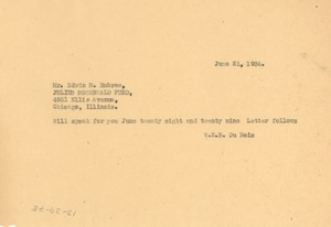 Thumbnail of Telegram from W. E. B. Du Bois to Julius Rosenwald Fund