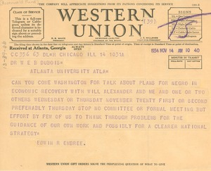 Thumbnail of Telegram from Julius Rosenwald Fund to W. E. B. Du Bois