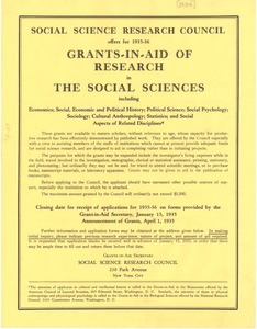 Thumbnail of Grants in aid of research in the social sciences