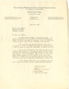 Thumbnail of Letter from the YWCA of the City of New York to W. E. B. Du Bois