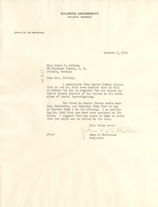 Thumbnail of Letter from Atlanta University Registrar to Louie D. Shivery