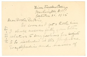 Thumbnail of Letter from Otelia Cromwell to W. E. B. Du Bois