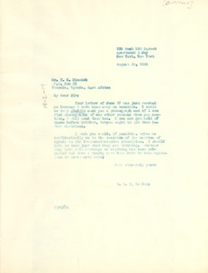 Thumbnail of Letter from W. E. B. Du Bois to Y. K. Dimmock