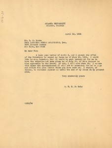 Thumbnail of Letter from W. E. B. Du Bois to Dunbar Apartments