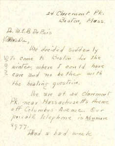 Thumbnail of Letter from Maud Cuney-Hare to W. E. B. Du Bois