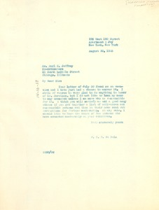 Thumbnail of Letter from W. E. B. Du Bois to Harrison Memorial Foundation