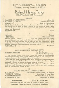 Thumbnail of Program for the performance of Roland Hayes, Tenor
