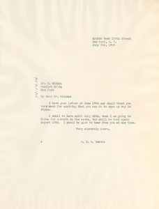 Thumbnail of Letter from W. E. B. Du Bois to Yasuichi Hikida
