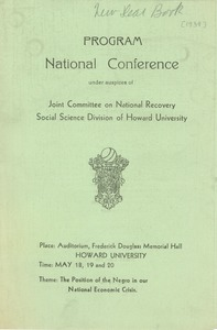 Thumbnail of Joint Committee on National Recovery national conference program