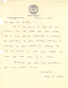 Thumbnail of Letter from LeMoyne College to W. E. B. Du Bois