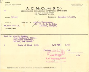 Thumbnail of Invoice from A. C. McClurg & Co.