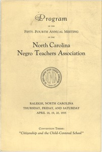 Thumbnail of Program of the fifty-fourth annual meeting of the North Carolina Negro Teachers             Association