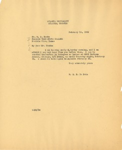 Thumbnail of Letter from W. E. B. Du Bois to Prairie View State Normal and Industrial College