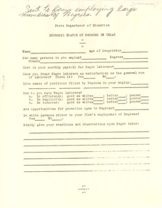 Thumbnail of Questionnaire on economic status of Negroes in Texas